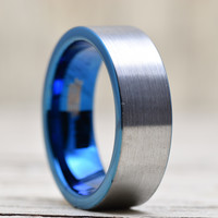 Tungsten Wedding Band Ring 8mm for Men Women Comfort Fit Blue Pipe Cut Brushed