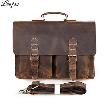 Men's Vintage genuine leather laptop bag Cow leather business bag crazy horse leather briefcase Men Portfolio