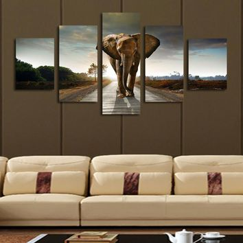 5 pieces/set Elephant Painting Canvas Wall Art Home Decoration Living Room Canvas Print Modern Canvas Painting Frameless