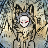Three Tails / Kitsune Fox Spirit, Yokai / Japanese Style / 4x6 Fine Art Print