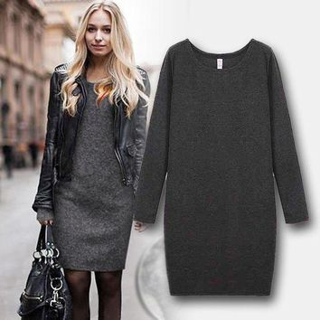 ac ICIK83Q Plus Size Winter Women's Fashion Stylish One Piece Dress [110331232281]