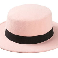 Men Women Fashion Wool Felt Fedoras Unisex Short Brim Panama Flat Top Jazz Bowler Woolen Stylish Hats For Women Chapeu Feminino