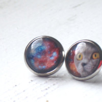 Galaxy Cat Stud Earrings : Funny Space Photo Jewelry