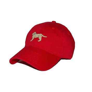 Yellow Lab Needlepoint Hat in Red by Smathers & Branson