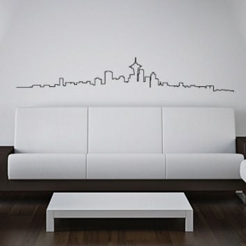 Vinyl Wall Decal Sticker Bedroom USA New York Ny Skyline Buildings Map Line R1657