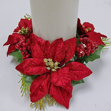 Christmas Decoration Christmas Floral Supplies Velvet Poinsettia Red 3in.