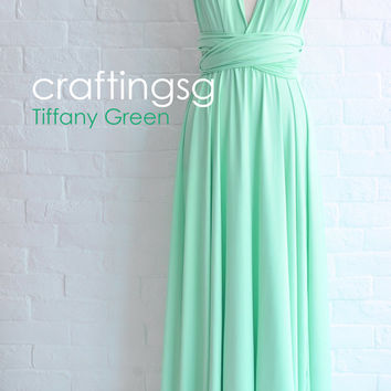 Bridesmaid Dress Infinity Dress Tiffany Green Floor Length Wrap Convertible Dress Wedding Dress