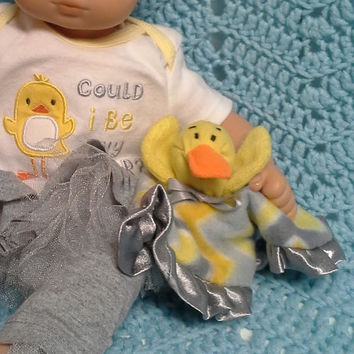"Bitty baby doll lovey blankie blanket ""Lovey Ducky""  Ty Teenie Beanie security blanket G6"