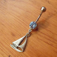 Belly Button Ring - Silver Sail Boat Belly Button Ring