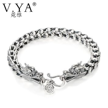 V.YA Punk Men Jewelry Dragon Bracelets 100% Thai Silver Bracelets for Men Heavy Thick Punk Bracelet Retro Silver Bracelet Men