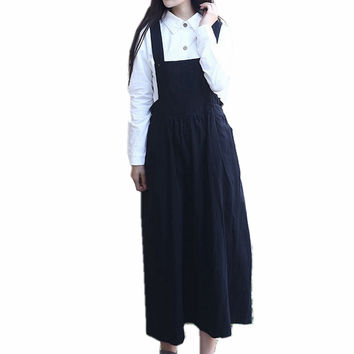 Mori Suspender Skirt High Quality 100% Cotton Midi A Line Skirt High Waist Red Grey Black Long Skirt Femme Overall