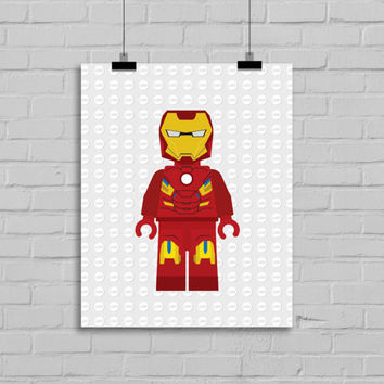 Lego Iron Man Decor - Superhero Pop Art, Instant Download, PRINTABLE 8x10, Kids Print, Nursery Print,Playroom Print, Comic Book