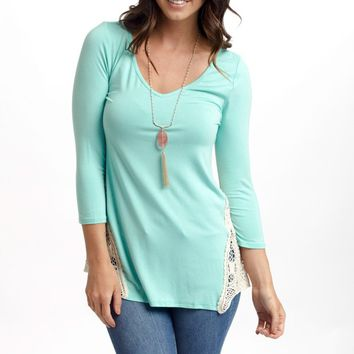 Mint Green Crochet Side 3/4 Sleeve Top