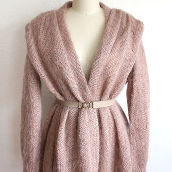 Vintage 80s Oversized Dreamy Dusty Rose Sweater Duster // Long Open Cardigan