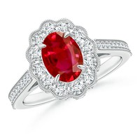 Floriated Diamond Halo Claw Set Ruby Ring