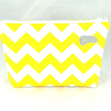 Personalized Yellow Chevron Cosmetic Case // Zippered Make Up Pouch // Custom Yellow and White Cosmetic Pouch // Yellow Travel Toiletry Case