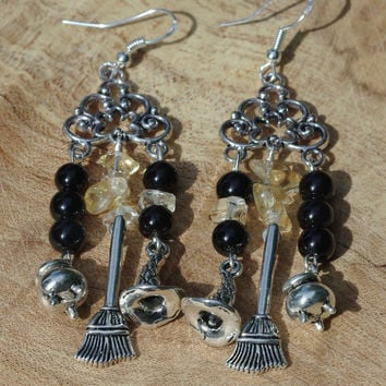 Onyx and Citrine Chandelier Earrings ~ Witch Earrings ~ Wizard ~ Halloween Jewellery ~ Semi Precious Sones  ~ Spooky Gift ~ Broomsticks