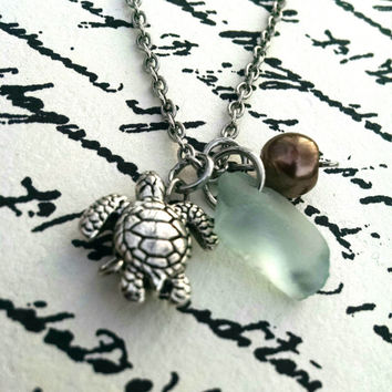 Turtle Charm and Recycled Glass Necklace