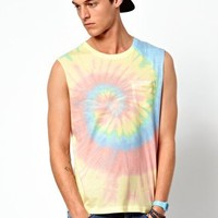 ASOS Sleeveless T-Shirt With Tie Dye Effect at asos.com