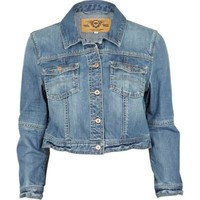 mid wash denim crop jacket - jackets - coats / jackets - women - River Island