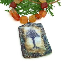 Artisan Tree of Life and Carnelian Necklace, Polymer Clay Gemstone Handmade Jewelry