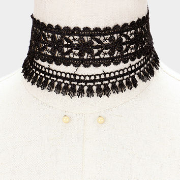 "12"" lace choker necklace boho 2 piece"