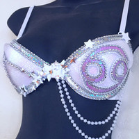 Cancer Zodiac Constellation Bra (LED): stars, astrology, tarot, EDC bra, Rave Outfit, Festival Outfit, Halloween, Costume, Horoscope, EDM