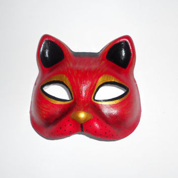 paper mache masks  red cat mask