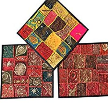 """Designer Throw Pillow Sham Vintage Patchwork Red Yellow Cushion Covers Set Of 3 16""""x 16"""""""