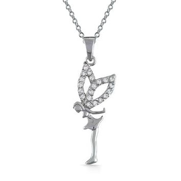 Fairy Angel Cubic Zirconia CZ Pendant 925 Sterling Silver Necklace