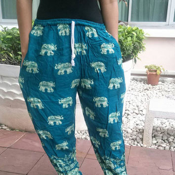 Green Elephant Yoga Pants Harem Boho Printed Unisex Casual Fisherman Native Hippie Massage Rayon pants Gypsy Thai Cloth Clothing Tribal