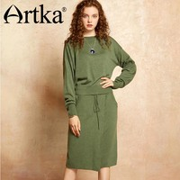 Artka 2017 Autumn& Winter Knit wear wool contained Pullover sweater and skirt two pieces suit YB11970Q