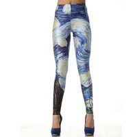 Van Gogh The Starry Night Color Leggings Pants from Charming Galaxy