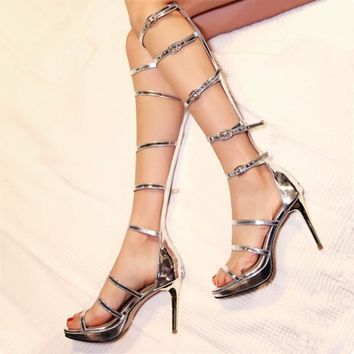 size 34-43 genuine leather sandals Knee Thin high heels gladiator Cool boots women long section Platform pumps Party Rome shoes