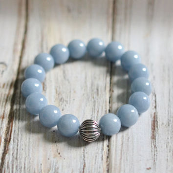 Angelite Bracelet, Gemstone Bracelet, Womens Beaded Bracelet, Blue Fashion Bracelet, Sterling Silver Bracelet, Stacking Bracelet, Gifts