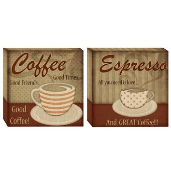 Classic Coffee Canvas Wall Art (Set of 2) (1070) - Illuminada