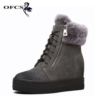 OFCS Women Winter Boots Cow Leather Warm Platform Snow Ankle Boots Women Casual Shoes Round Toe Sneakers Female Botas Mujer