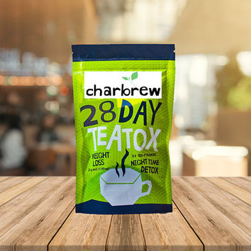 Charbrew 28 Day Teatox - Night Time Weightloss Tea, Cleanse Tea, Detox Tea