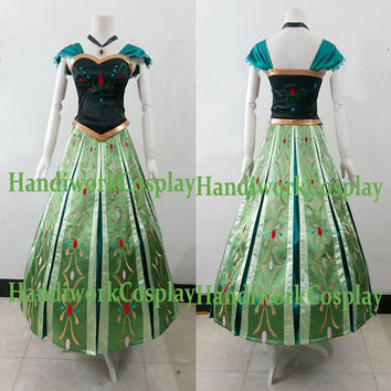 Anna Costume, Anna Coronation Dress High Quality EMBROIDERY Edition, Frozen Anna Crowned Cosplay Outfit CUSTOM Adults and Kids