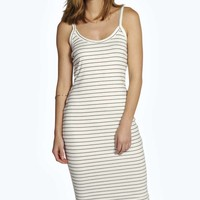 Layla Stripe Rib Strappy Midi Bodycon Dress