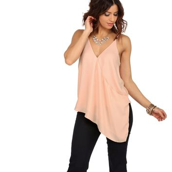 Pink Out Of Line Asymmetrical Top