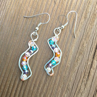 Blue Earrings, blue purple orange crystals, colorful, silver, wire wrapped, dangle and drop, gifts for her, summer, fashion