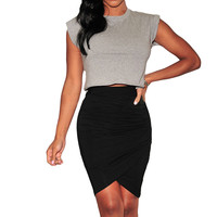 Wrap Ruched Asymmetrical Mini Pencil Skirt