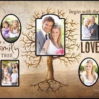 Family Tree Multi Photo Frame Wooden Wall Hanging Roots Art P Graham Dunn CPF61