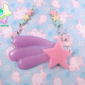Fairy Kei Kawaii Shooting Star Necklace - Pink and Lavender