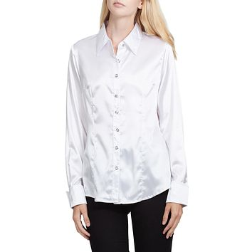 Long Sleeve Satin Blouse with Cuffs