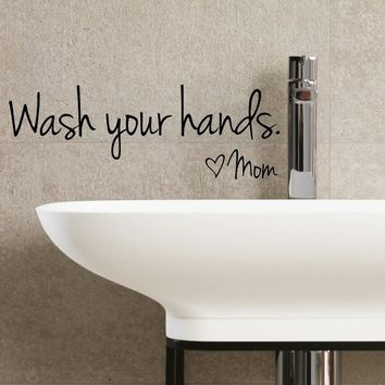 Bathroom Wall Decoration Letter Waterproof Art Vinyl Decal Wsah your hands Wall Stickers