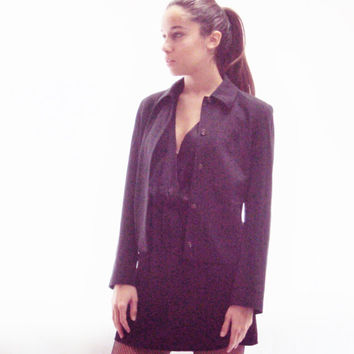 Grunge Revival / Pinstripe Blazer Jacket S, M / 90s Grunge / Office Clothes / Tailored / Structured /
