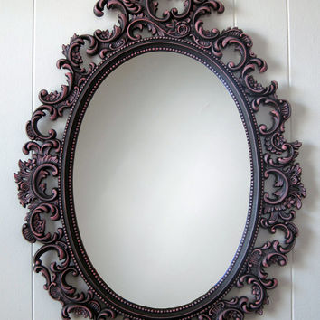 Vintage Wall Mirror French Country Ornate Oval Brown and Pink Cottage Hollywood Regency