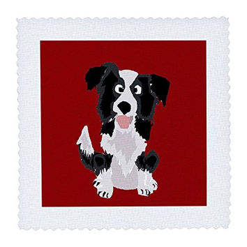 3dRose Funny Border Collie Puppy Dog Art - Quilt Square, 12 by 12-Inch (qs_218083_4)